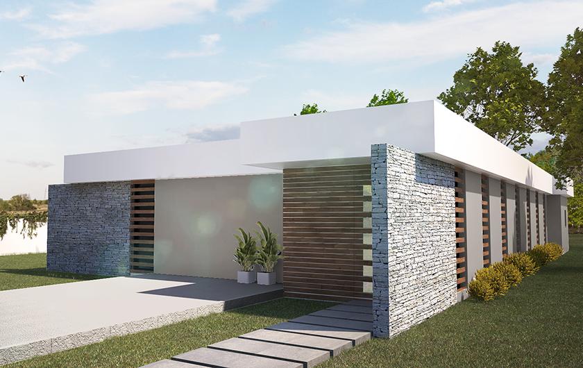 Planta baja de 150 m2 en forma de L en estructura de Madera con 4 habitaciones, 3 baños, vestidor y gran espacio diáfano en comedor y cocina abierta