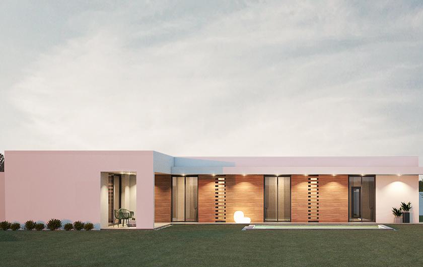 Genial vivienda de 160 m2 en planta baja con forma de L con gran zona de ocio y vivienda auxiliar para gimnasio y gran porche de 50 m2 para estacionar vehículos.